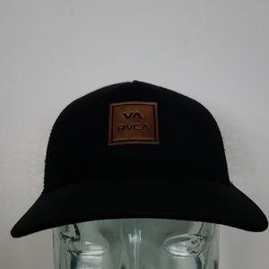 RVCA Leather Logo Snapback Hat